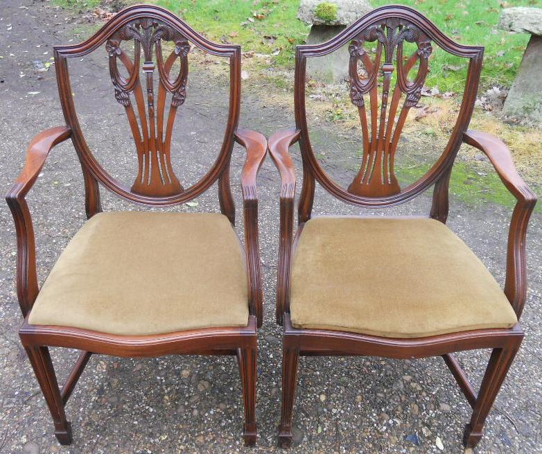 SOLD   Set Of Eight Mahogany Georgian Style Dining Chairs (Prince Of Wales  Feathers)